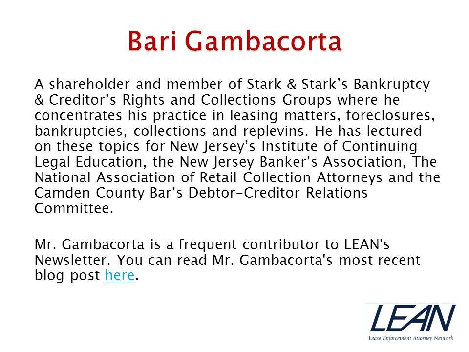 LEAN member Bob Bernstein, Managing Partner at Bernstein-Burkley, P.C., has volunteered to moderate the webinar discussion.