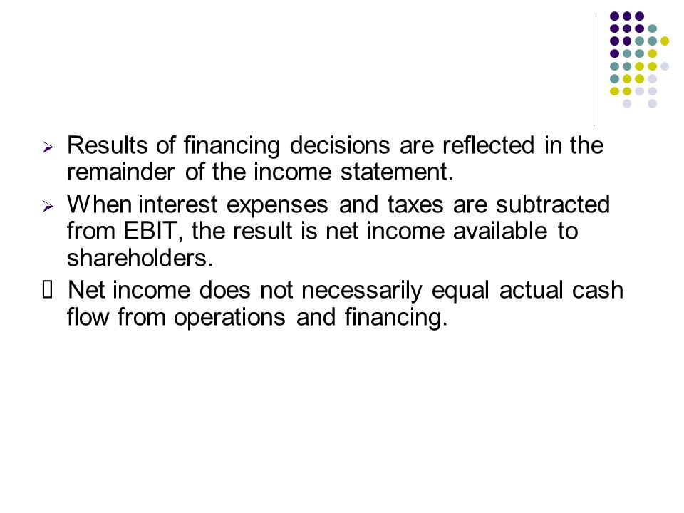  Results of financing decisions are reflected in the remainder of the income statement.