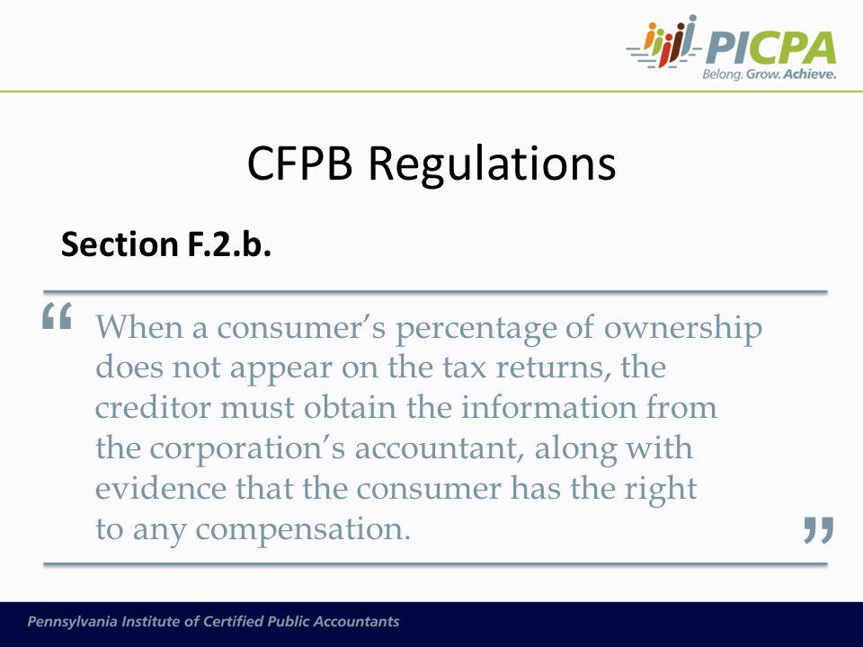 CFPB Regulations Section F.2.b.