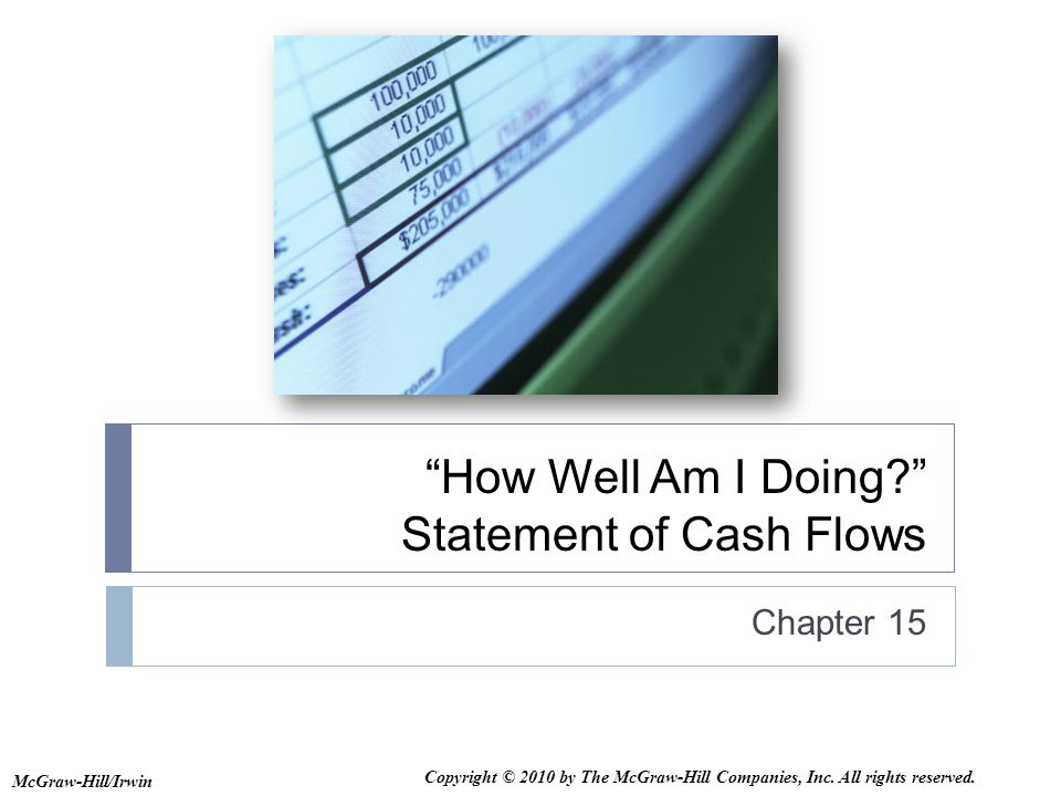 How Well Am I Doing Statement of Cash Flows Chapter 15 McGraw-Hill/Irwin Copyright © 2010 by The McGraw-Hill Companies, Inc.