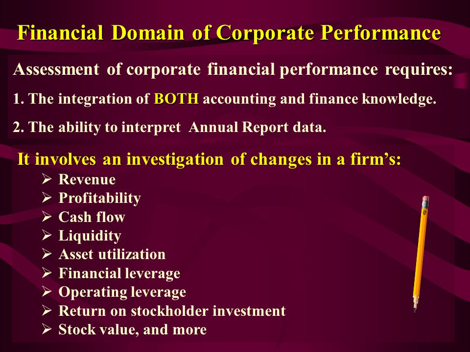 Financial Domain of Corporate Performance Assessment of corporate financial performance requires: BOTH 1.