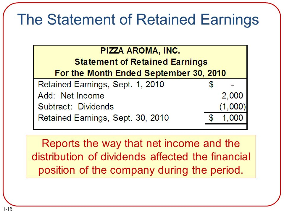 The Statement of Retained Earnings Reports the way that net income and the distribution of dividends affected the financial position of the company du