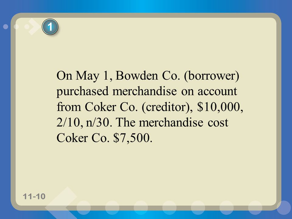 11-10 On May 1, Bowden Co. (borrower) purchased merchandise on account from Coker Co. (creditor), $10,000, 2/10, n/30. The merchandise cost Coker Co.