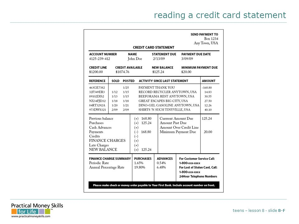 reading a credit card statement teens – lesson 8 - slide 8-F