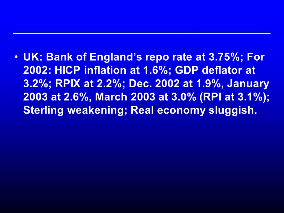 UK: Bank of England's repo rate at 3.75%; For 2002: HICP inflation at 1.6%; GDP deflator at 3.2%; RPIX at 2.2%; Dec.