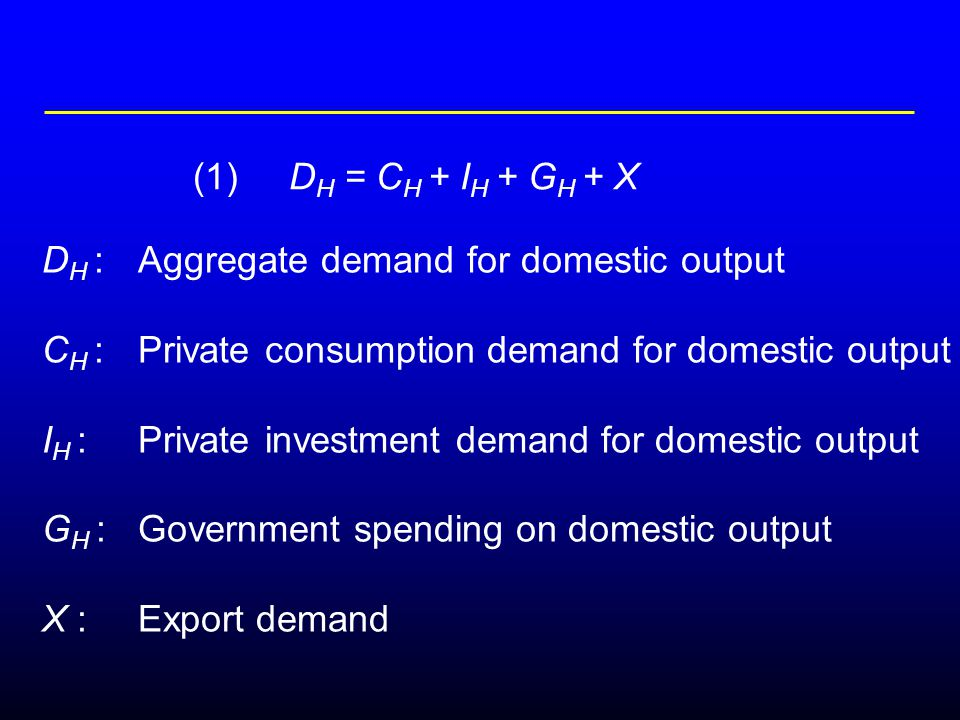 D H :Aggregate demand for domestic output C H :Private consumption demand for domestic output I H :Private investment demand for domestic output G H :Government spending on domestic output X : Export demand (1)D H = C H + I H + G H + X