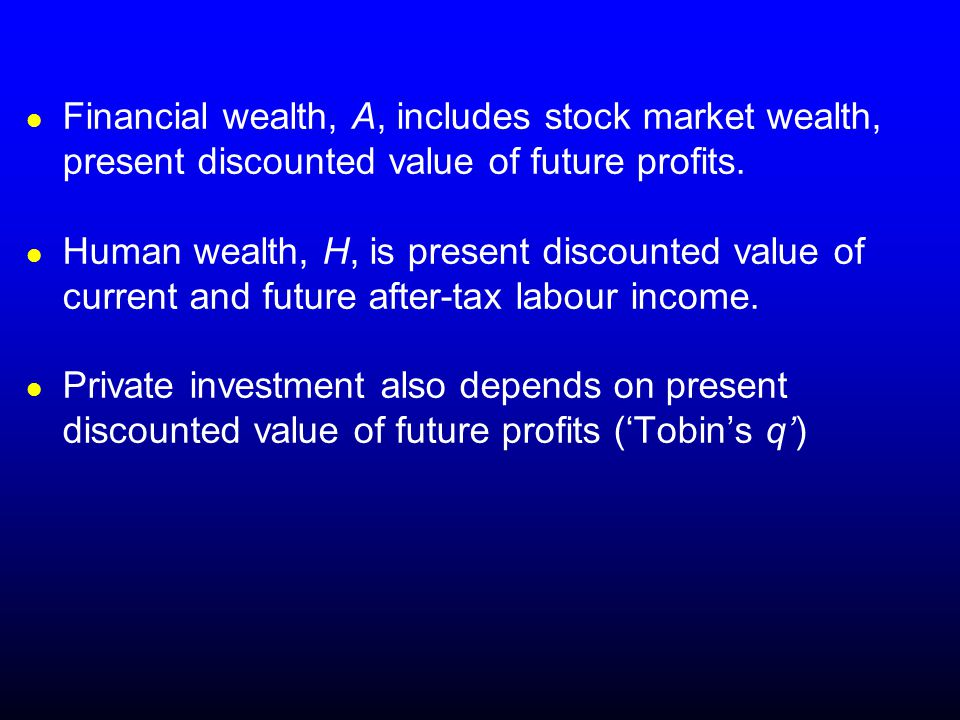 Financial wealth, A, includes stock market wealth, present discounted value of future profits.
