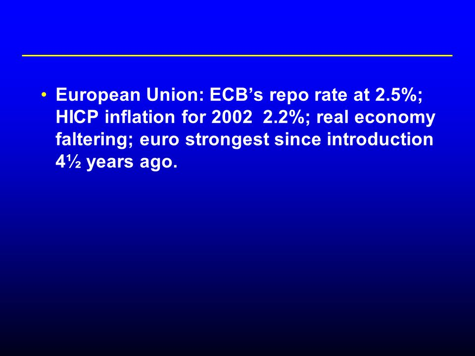 European Union: ECB's repo rate at 2.5%; HICP inflation for 2002 2.2%; real economy faltering; euro strongest since introduction 4½ years ago.