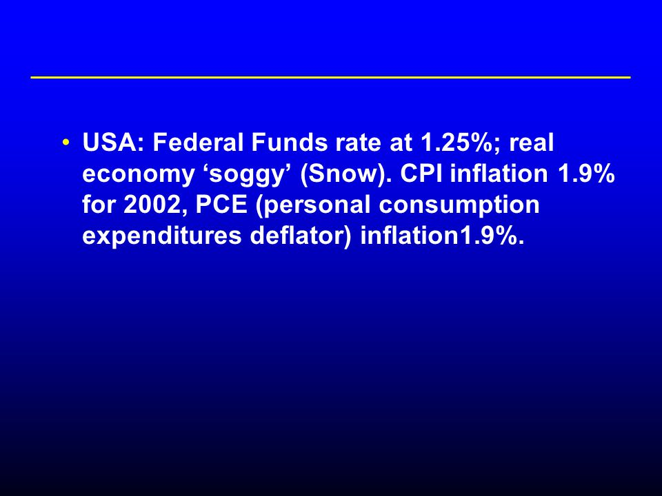 USA: Federal Funds rate at 1.25%; real economy 'soggy' (Snow).