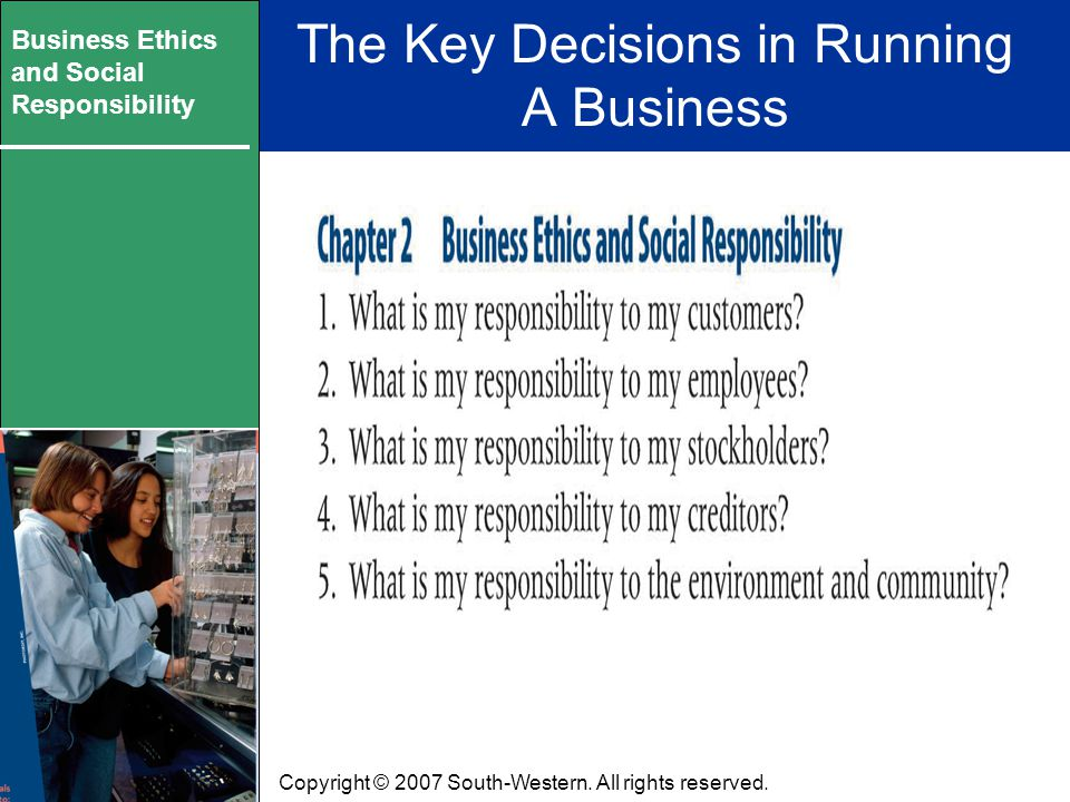 Business Ethics and Social Responsibility Portion of Graphic from pg 36 will go here Copyright © 2007 South-Western.