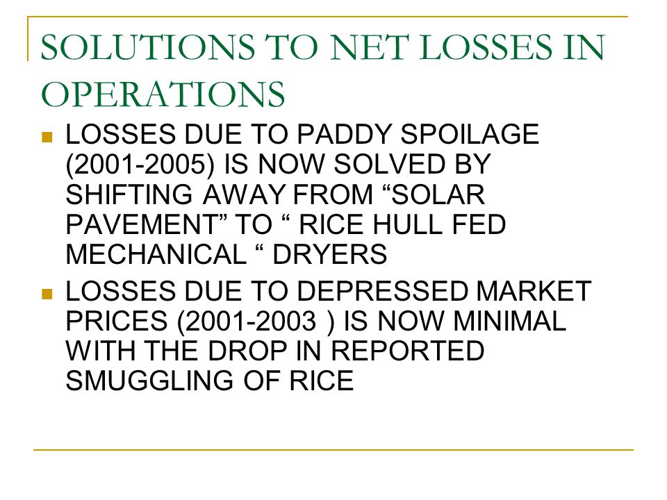 "SOLUTIONS TO NET LOSSES IN OPERATIONS LOSSES DUE TO PADDY SPOILAGE (2001-2005) IS NOW SOLVED BY SHIFTING AWAY FROM ""SOLAR PAVEMENT"" TO "" RICE HULL FED"