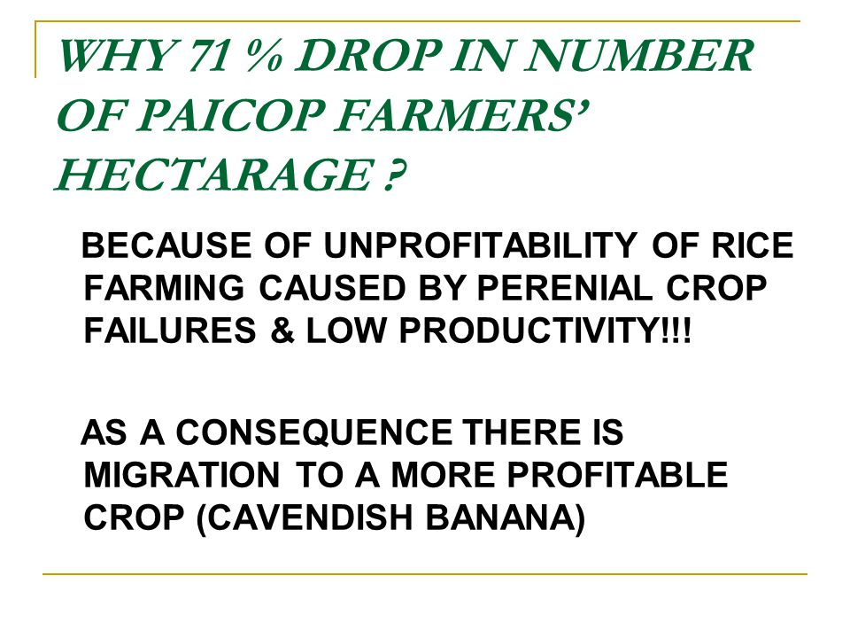 WHY 71 % DROP IN NUMBER OF PAICOP FARMERS' HECTARAGE .