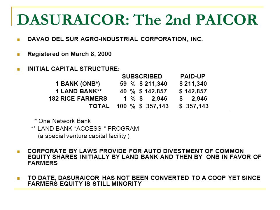 DASURAICOR: The 2nd PAICOR DAVAO DEL SUR AGRO-INDUSTRIAL CORPORATION, INC. Registered on March 8, 2000 INITIAL CAPITAL STRUCTURE: SUBSCRIBED PAID-UP 1