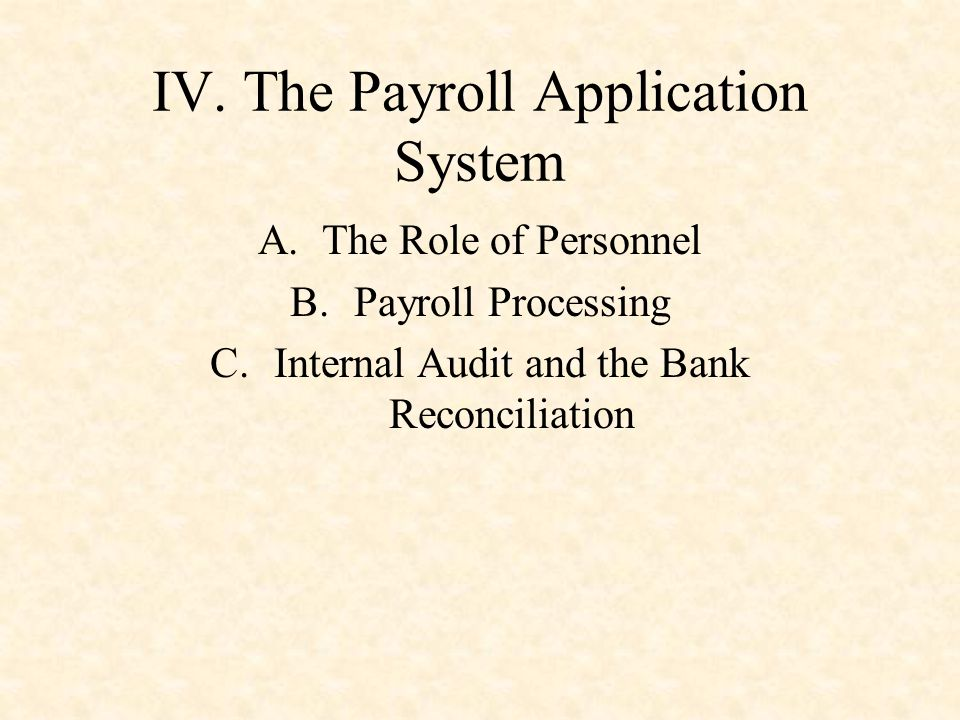 IV. The Payroll Application System A.The Role of Personnel B.Payroll Processing C.Internal Audit and the Bank Reconciliation