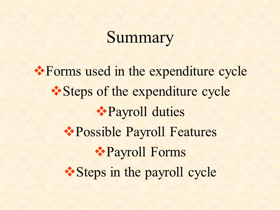 Summary  Forms used in the expenditure cycle  Steps of the expenditure cycle  Payroll duties  Possible Payroll Features  Payroll Forms  Steps in the payroll cycle
