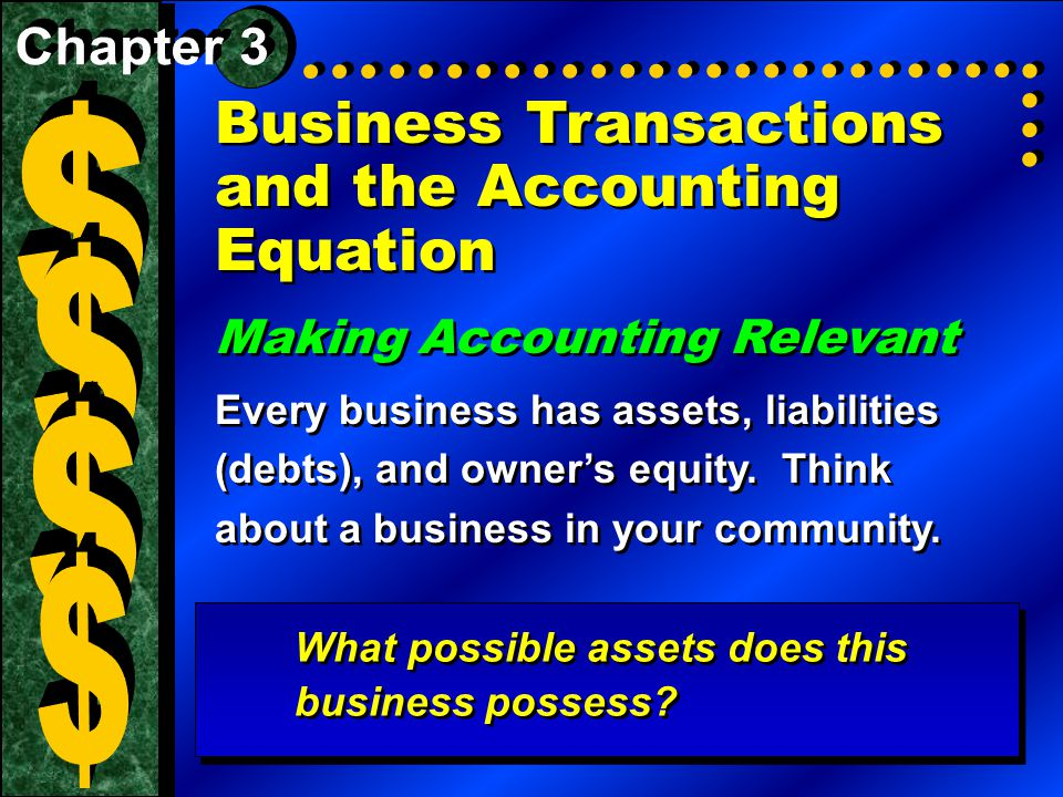 Business Transactions and the Accounting Equation Making Accounting Relevant Every business has assets, liabilities (debts), and owner's equity.