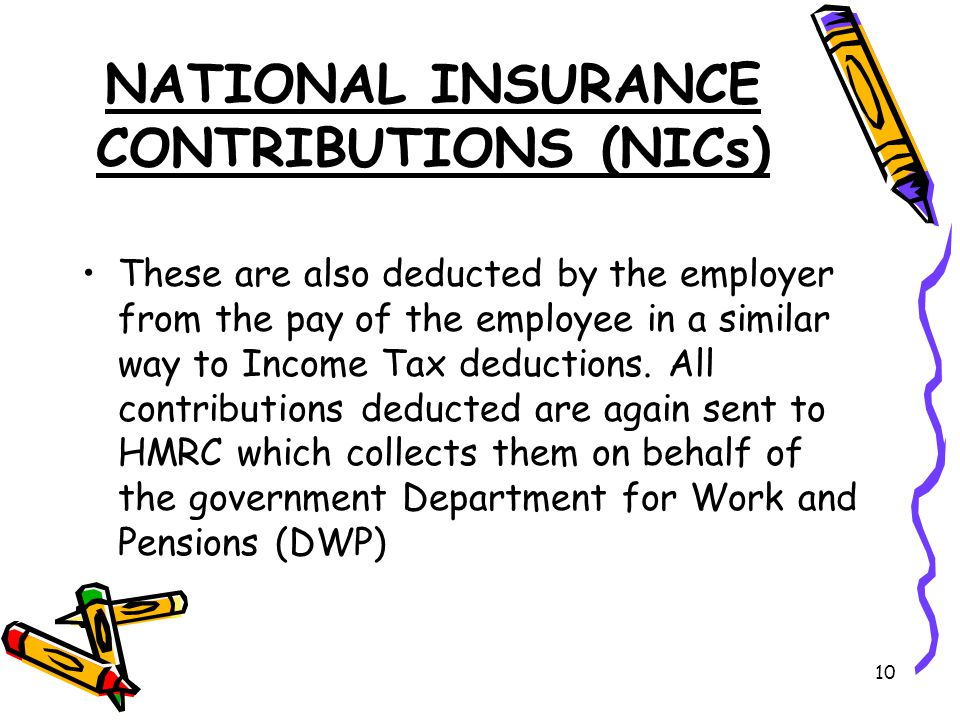 10 NATIONAL INSURANCE CONTRIBUTIONS (NICs) These are also deducted by the employer from the pay of the employee in a similar way to Income Tax deductions.