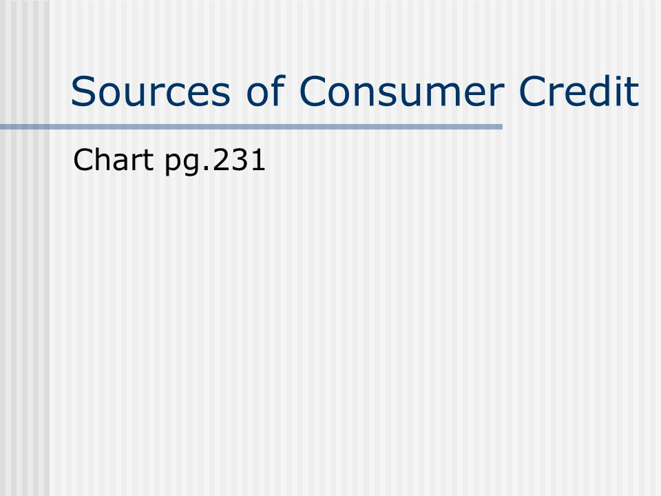 Sources of Consumer Credit Chart pg.231