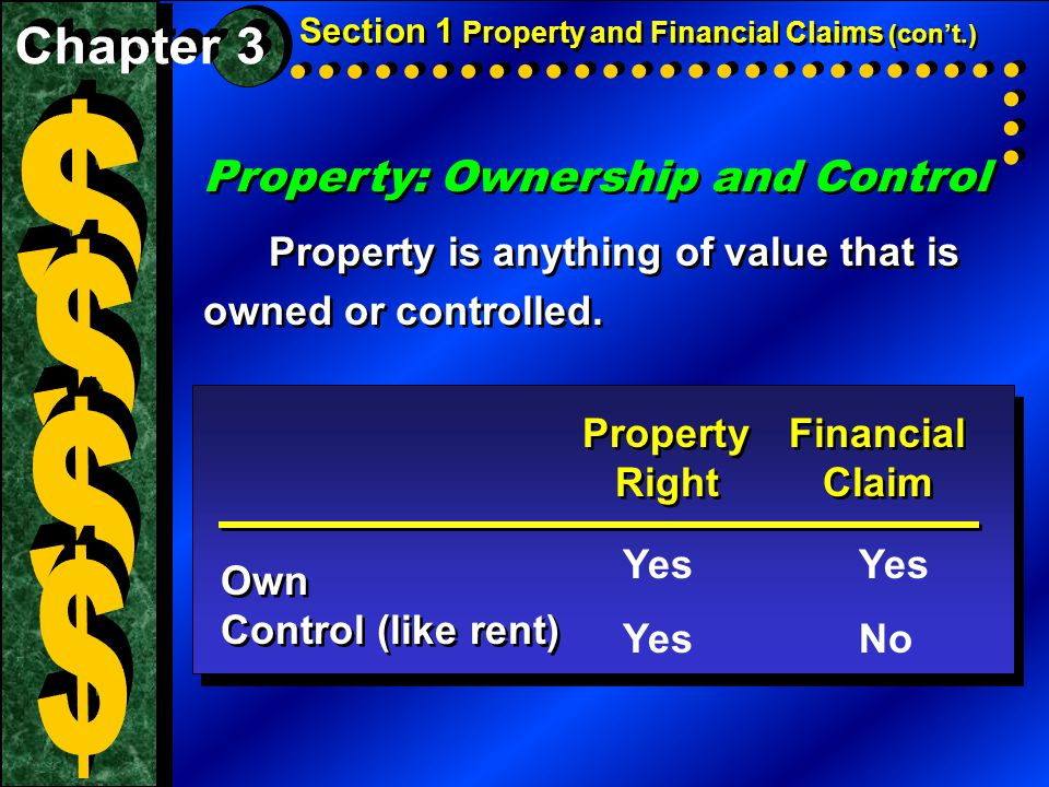 Property: Ownership and Control Property is anything of value that is owned or controlled.
