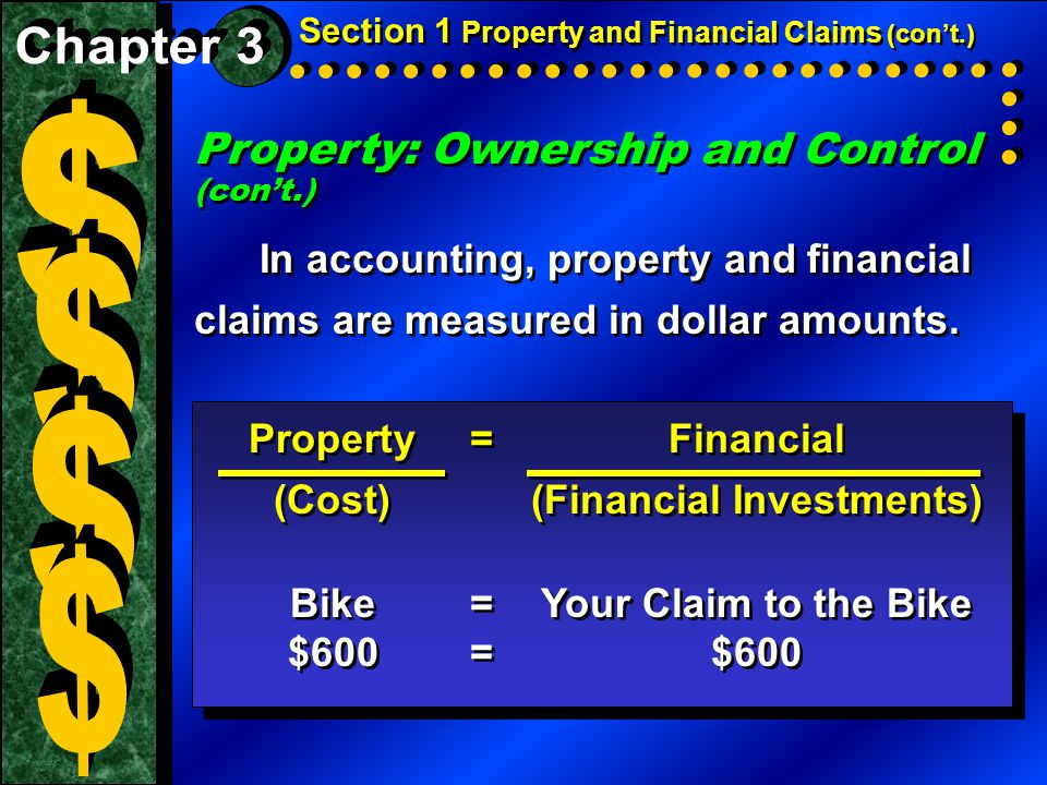 Property: Ownership and Control (con't.) In accounting, property and financial claims are measured in dollar amounts.