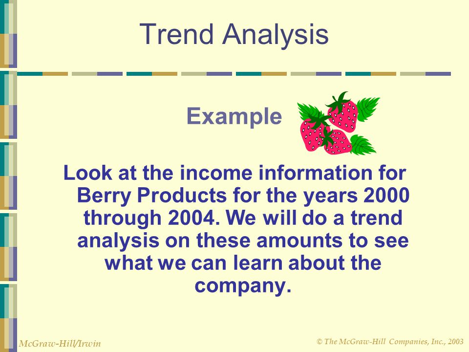 © The McGraw-Hill Companies, Inc., 2003 McGraw-Hill/Irwin Trend Analysis Example Look at the income information for Berry Products for the years 2000