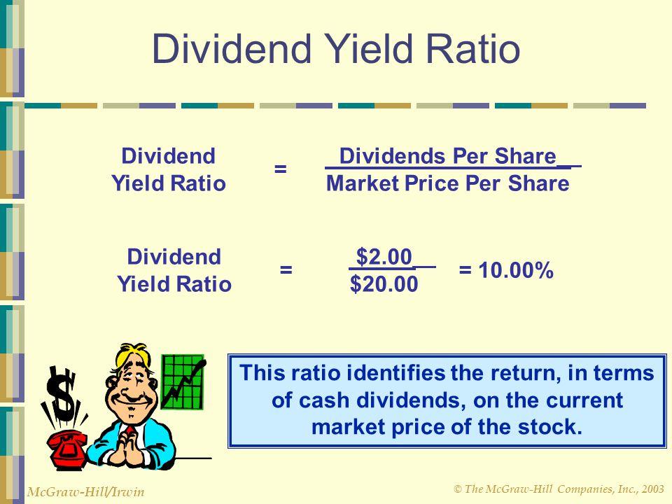 © The McGraw-Hill Companies, Inc., 2003 McGraw-Hill/Irwin Dividend Yield Ratio Dividend Yield Ratio Dividends Per Share Market Price Per Share = Divid
