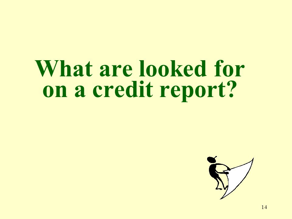 14 What are looked for on a credit report