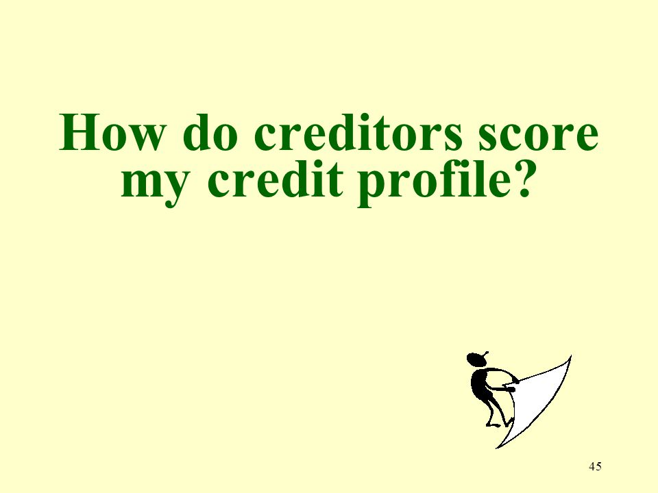 45 How do creditors score my credit profile