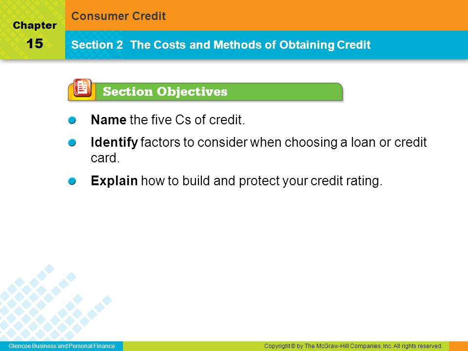 Glencoe Business and Personal FinanceCopyright © by The McGraw-Hill Companies, Inc. All rights reserved. Name the five Cs of credit. Identify factors