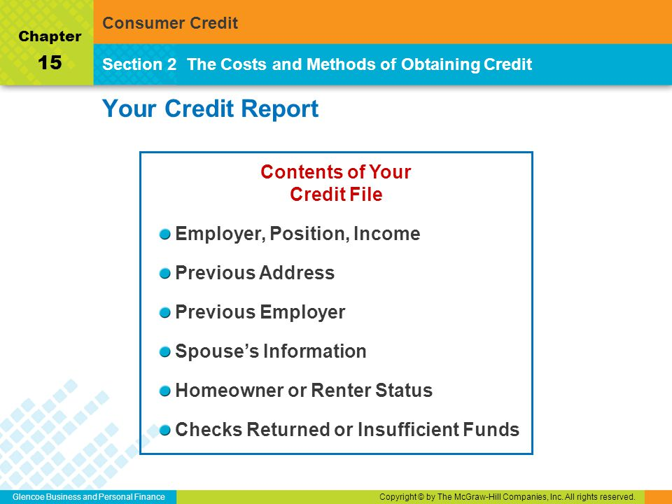 Glencoe Business and Personal FinanceCopyright © by The McGraw-Hill Companies, Inc. All rights reserved. Your Credit Report Section 2The Costs and Met