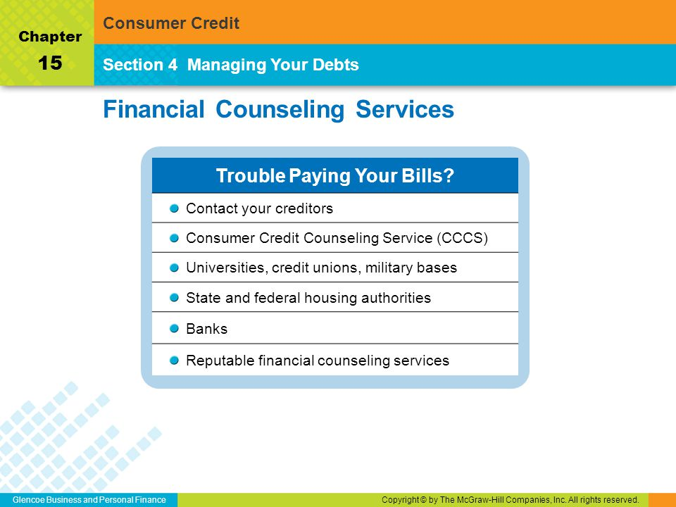 Glencoe Business and Personal FinanceCopyright © by The McGraw-Hill Companies, Inc. All rights reserved. Financial Counseling Services Section 4Managi