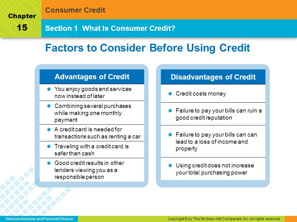 Glencoe Business and Personal FinanceCopyright © by The McGraw-Hill Companies, Inc. All rights reserved. Factors to Consider Before Using Credit Secti