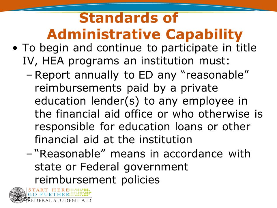 Standards of Administrative Capability To begin and continue to participate in title IV, HEA programs an institution must: –Report annually to ED any