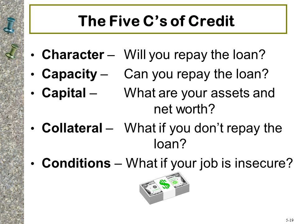 5-19 The Five C's of Credit Character – Will you repay the loan.