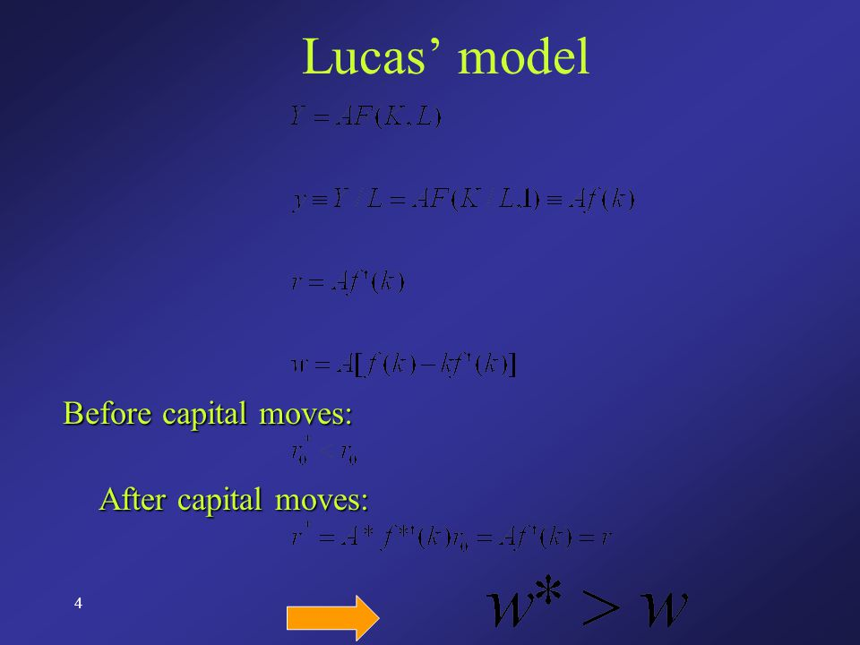 4 Lucas' model Before capital moves: After capital moves: