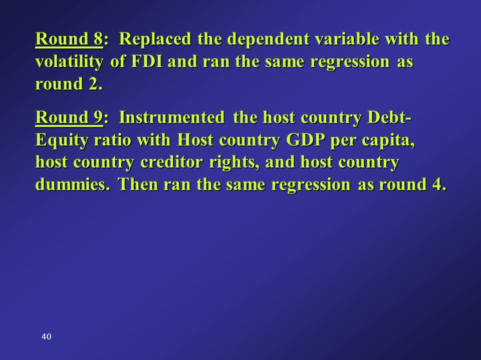 40 Round 8: Replaced the dependent variable with the volatility of FDI and ran the same regression as round 2.