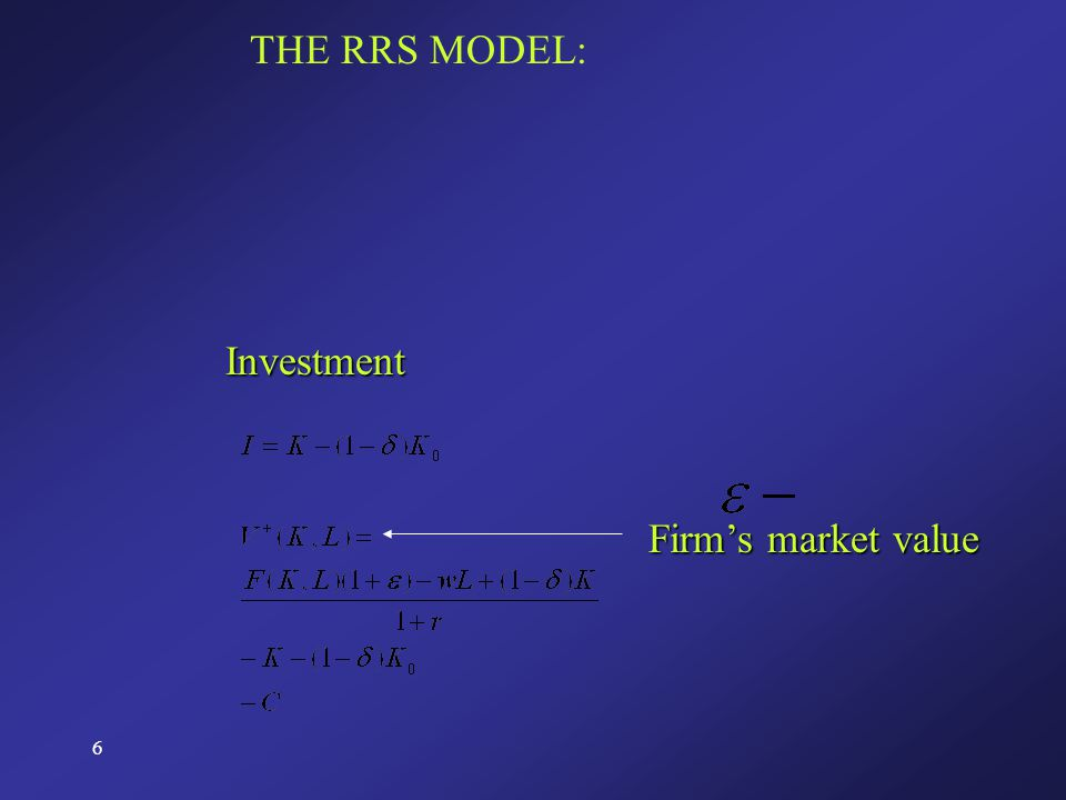 6 THE RRS MODEL: Investment Firm's market value