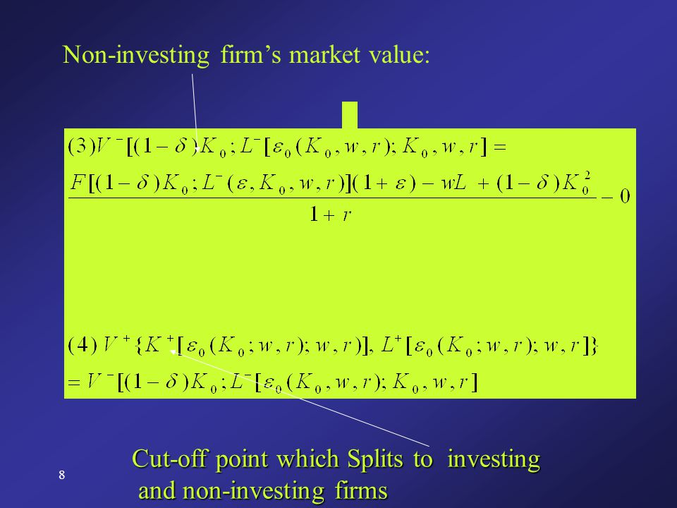 8 Non-investing firm's market value: Cut-off point which Splits to investing and non-investing firms and non-investing firms