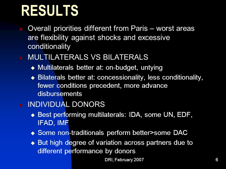 DRI, February 20076 RESULTS Overall priorities different from Paris – worst areas are flexibility against shocks and excessive conditionality MULTILATERALS VS BILATERALS  Multilaterals better at: on-budget, untying  Bilaterals better at: concessionality, less conditionality, fewer conditions precedent, more advance disbursements INDIVIDUAL DONORS  Best performing multilaterals: IDA, some UN, EDF, IFAD, IMF  Some non-traditionals perform better>some DAC  But high degree of variation across partners due to different performance by donors