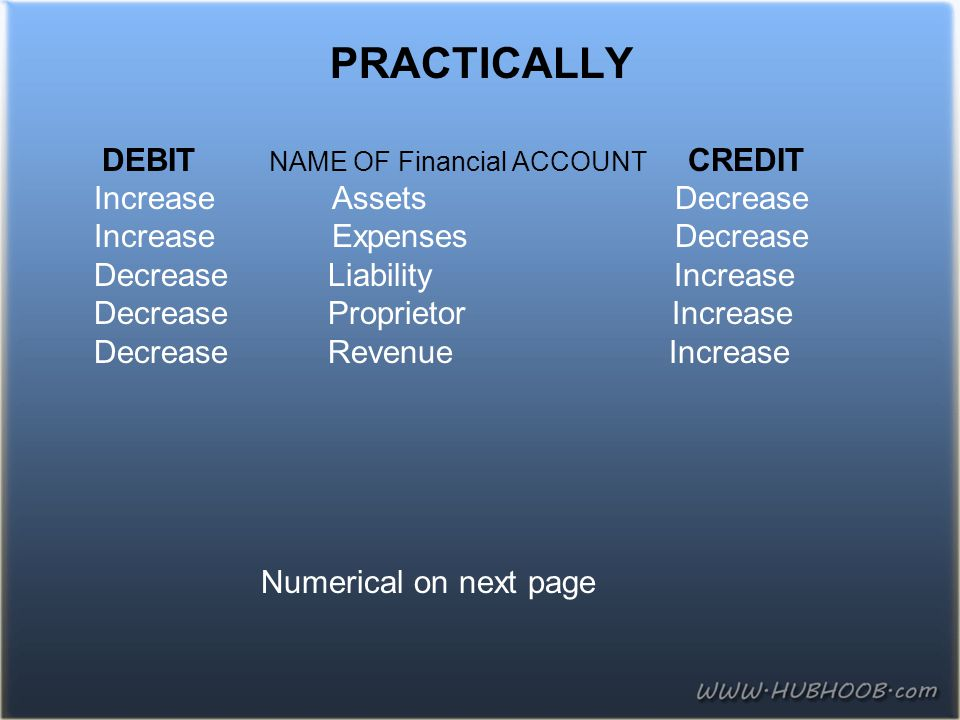 PRACTICALLY DEBIT NAME OF Financial ACCOUNT CREDIT Increase Assets Decrease Increase Expenses Decrease Decrease Liability Increase Decrease Proprietor