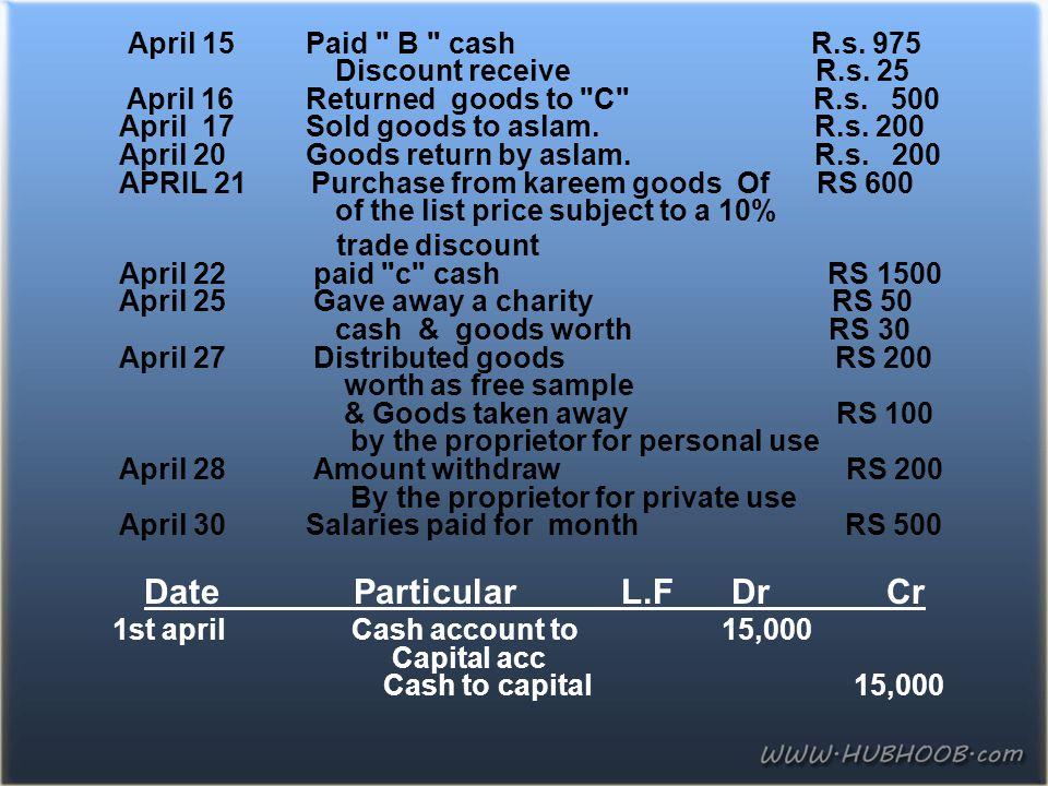 April 15 Paid B cash R.s.975 Discount receive R.s.