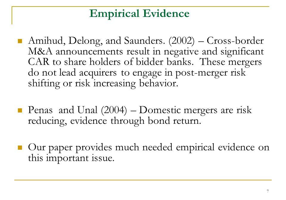 7 Empirical Evidence Amihud, Delong, and Saunders.