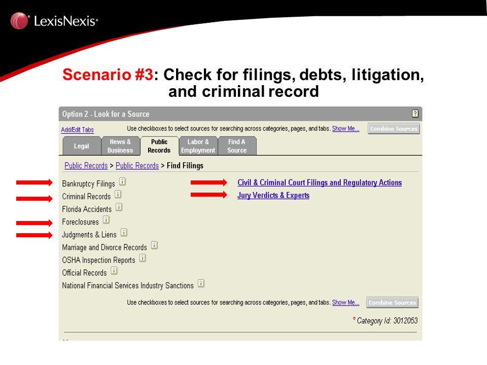 Scenario #3: Check for filings, debts, litigation, and criminal record Scenario #3: Check for filings, debts, litigation, and criminal record