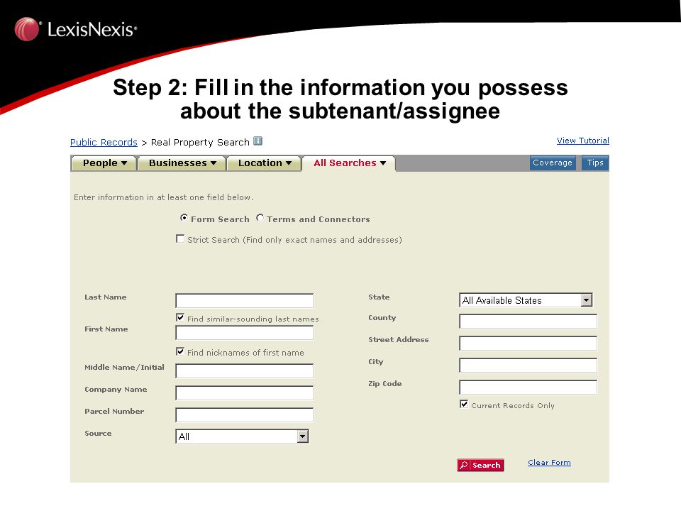 Step 2: Fill in the information you possess about the subtenant/assignee