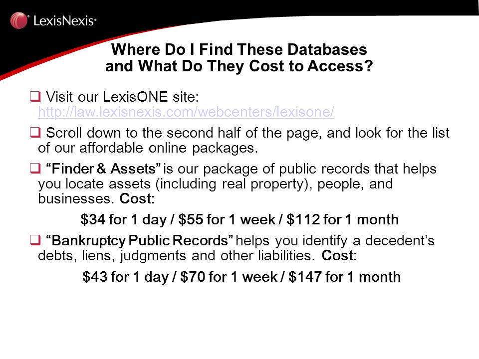 Where Do I Find These Databases and What Do They Cost to Access.