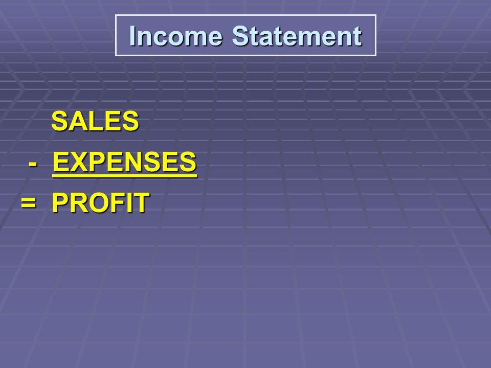 SALES SALES - EXPENSES - EXPENSES = PROFIT = PROFIT Income Statement