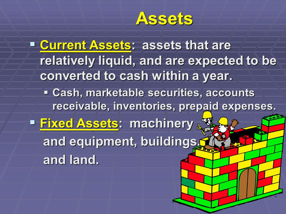 Assets  Current Assets: assets that are relatively liquid, and are expected to be converted to cash within a year.