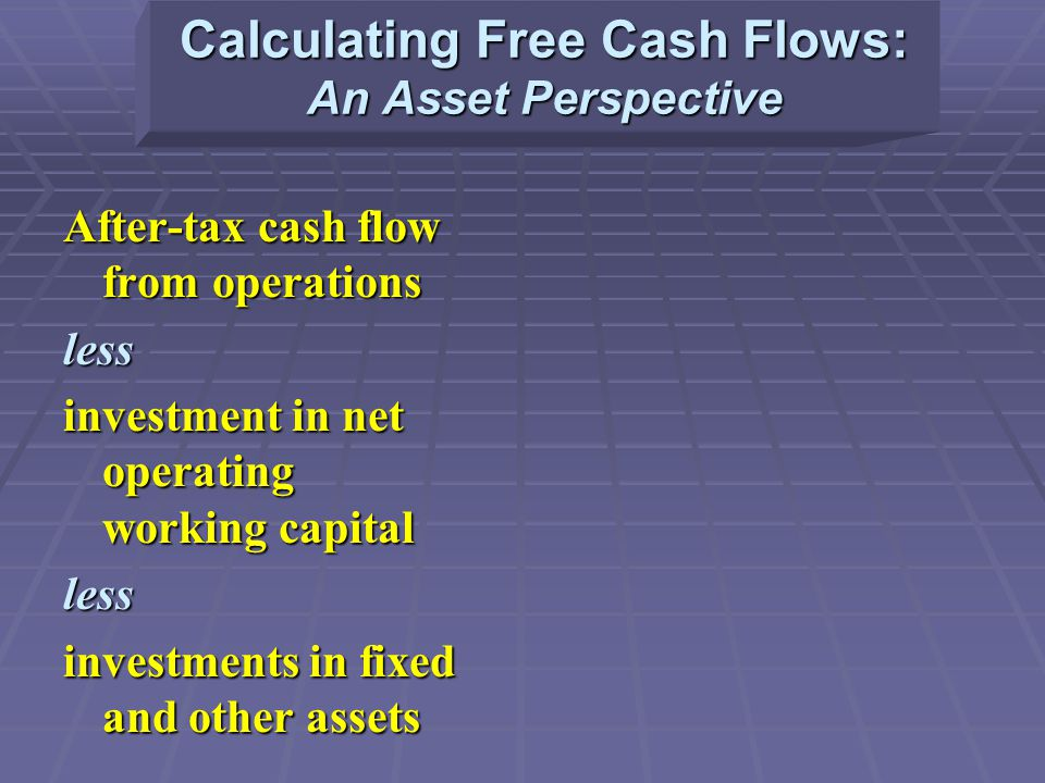 Calculating Free Cash Flows: An Asset Perspective After-tax cash flow from operations less investment in net operating working capital less investments in fixed and other assets