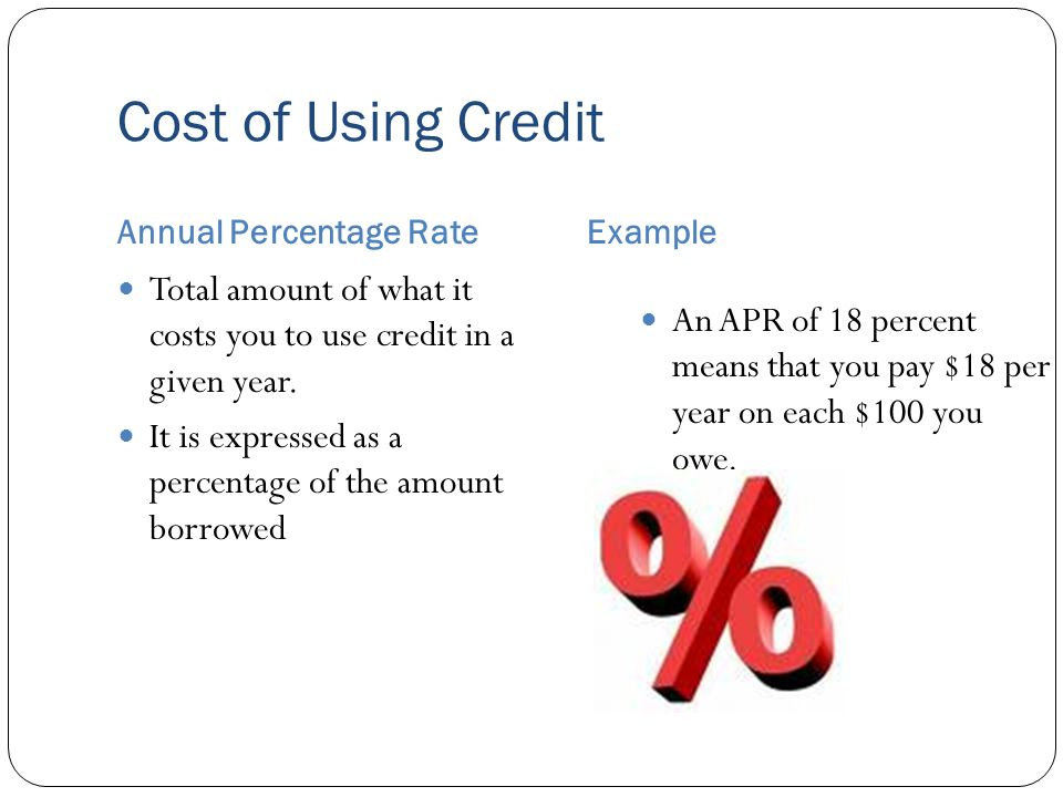 Cost of Using Credit Annual Percentage RateExample Total amount of what it costs you to use credit in a given year.