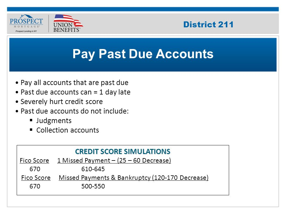 Improve Your Credit Score Pay all accounts that are past due Past due accounts can = 1 day late Severely hurt credit score Past due accounts do not include:  Judgments  Collection accounts Pay Past Due Accounts CREDIT SCORE SIMULATIONS Fico Score 1 Missed Payment – (25 – 60 Decrease) 670 610-645 Fico Score Missed Payments & Bankruptcy (120-170 Decrease) 670 500-550 District 211